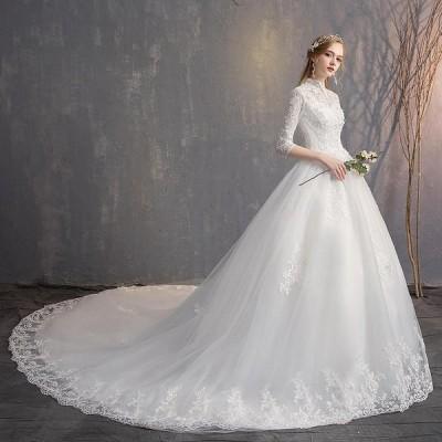 ウエディングドレス レディース プリンセスドレス 白い ブライダルドレス 花嫁 Aライン トレーン 演奏会 編み上げ 前撮り ドレス ホワイト