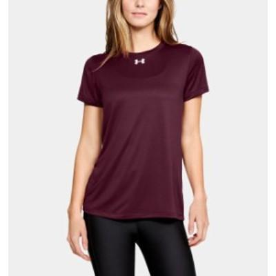 アンダーアーマー レディース Tシャツ Under Armour UA Locker T-Shirt 半袖 Maroon/White