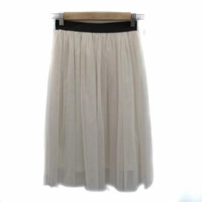 【中古】コクーン COCOON スカート チュール ミモレ丈 オフホワイト 黒 ブラック /HO7 レディース