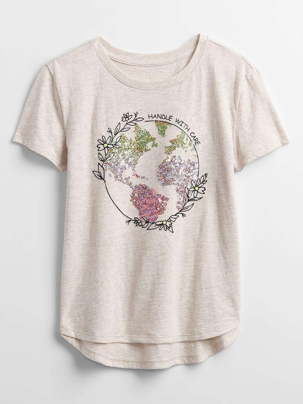 女童 可愛雙面亮片圓領T恤