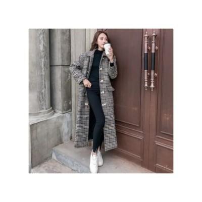 チェスターコート レディース アウター ロングコート 人気 韓国ファッション チェック チェック柄 20代 30代 40代 50代 おすすめ 大きいサイズ 989