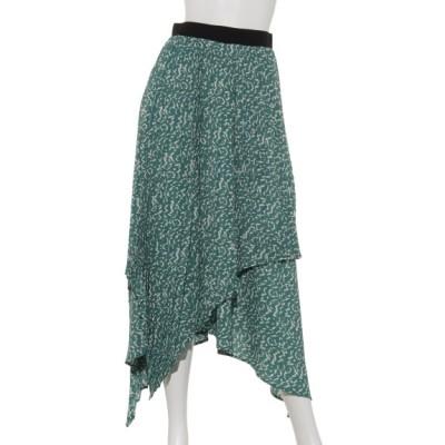 OSMOSIS (オズモーシス) レディース アシンメトリープリーツスカート GREEN ONE