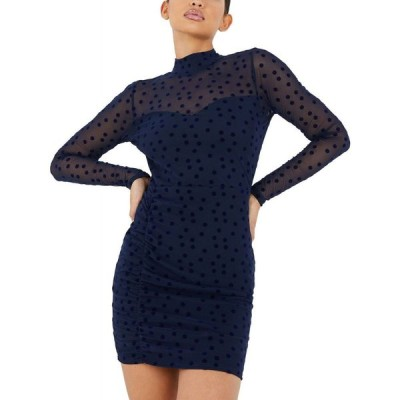 クイズ Quiz レディース ボディコンドレス ワンピース・ドレス Illusion-Sleeve Dot Bodycon Dress Navy