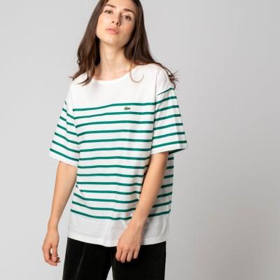 ラコステ LACOSTE リップルボーダージャージTシャツ (グリーン)