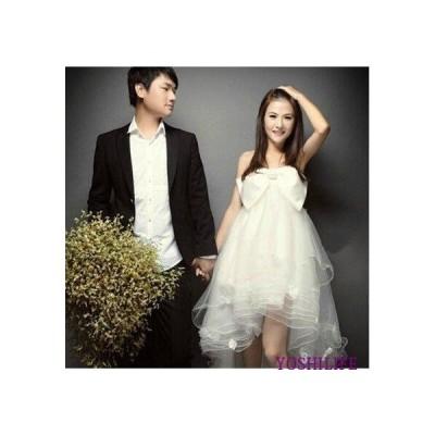 花嫁 二次会 ドレス ウェディングドレス/結婚式/手作り ウエディングドレス/ミニドレス ふわふわ チューチュー 白 マタニティ 妊婦可 大きいサイズ