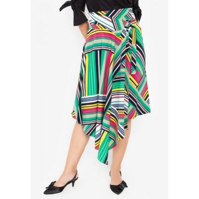 ウェアクリス Wear Kris レディース ひざ丈スカート スカート Keen Printed Asymmetrical Skirt Green/Yellow Stripes