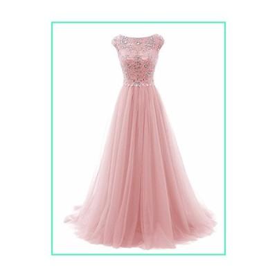 Promworld Women's Wedding Bridesmaid Dress Cap Sleeve Crystal Tulle Long Prom Dresses Pink US2並行輸入品
