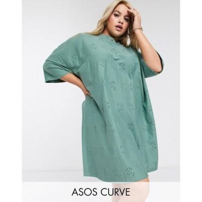 エイソス レディース ワンピース トップス ASOS DESIGN Curve broderie super oversized t-shirt dress in khaki