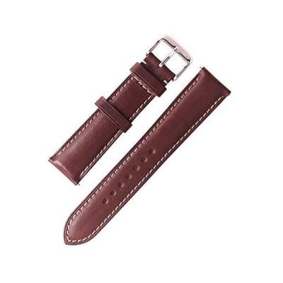 W&S プレミアムレザー腕時計ベルト 2ピース (22mm、ダークブラウン)