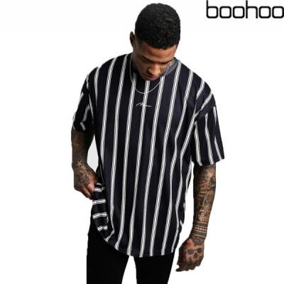 ブーフー boohoo OVERSIZED STRIPE MAN SIGNATURE T-SHIRT ブラック Tシャツ 半袖 ストライプ S/S ショートスリーブ トップス メンズ 春 夏 おしゃれ イギリス a