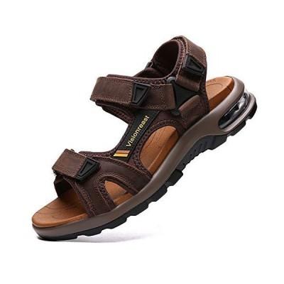 [visionreast] メンズ スポーツサンダル エアークッション 幅広 アウトドアサンダル 歩きやすい 本革 厚底 かかとあり ビーチサンダル