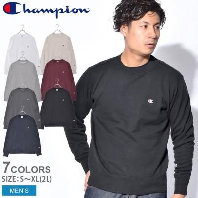 チャンピオン トレーナー メンズ クルーネック スウェットシャツ CHAMPION C3-Q001 ブラック 黒 ホワイト 白 長袖 ワンポイント 服 春 父の日