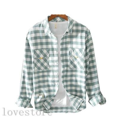 長袖シャツ メンズシャツ 春秋 ストリート チェック柄シャツ 男性用 綿100 お肌に優しい 速乾吸汗 通気 和風 かっこいい 開衿シャツ