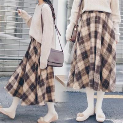 タータンチェック レトロで可愛い ミディアム丈スカート