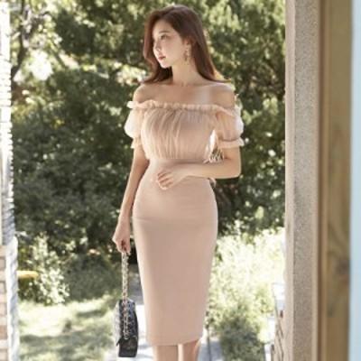 ドレス パーティードレス オフショルダー 半袖 ひざ丈 ベージュ シンプル タイト ワンピース きれいめ 大人 上品 シースルー