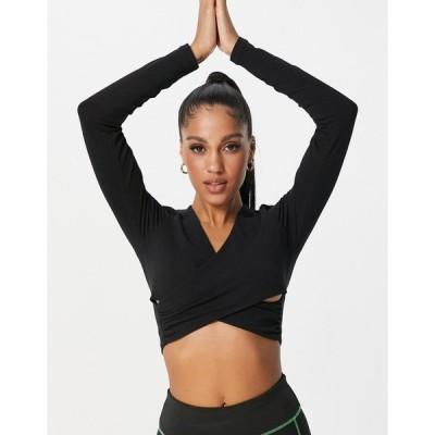エイソス おでかけトップス レディース ASOS 4505 yoga long sleeve wrap top in organic cotton エイソス ASOS ブラック 黒