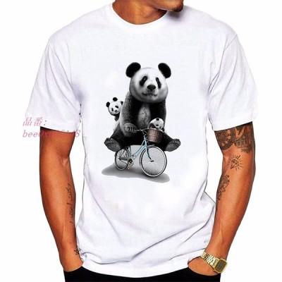 Tシャツ ぱんだ パンダ メンズ カットソー ロンT アニマル オーバーサイズ シンプル コットン かわいい おしゃれ 動物 丸首 半袖