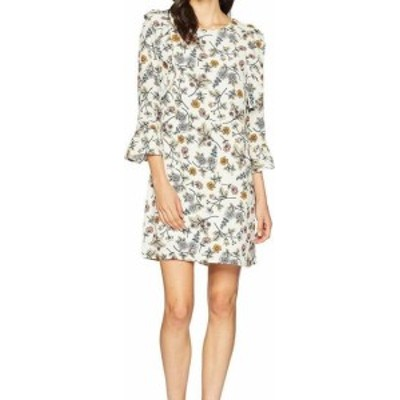 Sanctuary サンクチュアリ ファッション ドレス Sanctuary Womens Dress White Size Small S Shift Floral Print Ruffled
