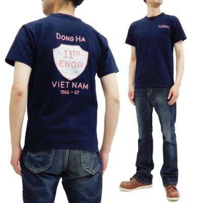 フェローズ Tシャツ PHERROWS 半袖Tシャツ U.S.M.C. 11th Engineer Battalion 20S-PPT2 ネイビー 新品