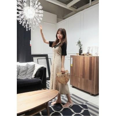 セットアップ ワンピース ジャンパースカート 膝下 バックシャン リボン カジュアル ガーリー 無地 シンプル デート  韓国ファッション
