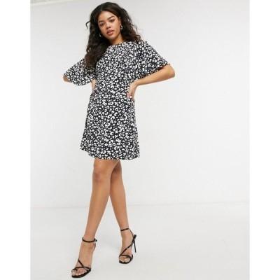 スタイル チート レディース ワンピース トップス Style Cheat Cali open back mini tea dress in abstract spot Abstract spot