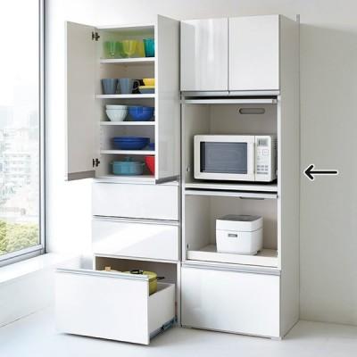 家具 収納 キッチン収納 食器棚 レンジ台 レンジラック キッチンラック 組立不要!家電を隠せるキッチン収納シリーズ レンジラック幅59.5cm 549526