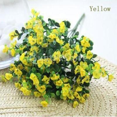 ノーブランド品   人工絹 花 植物 家 結婚式 装飾 造花 6色選べる - イエロー