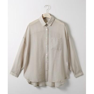 シャツ 大きいサイズ レディース シアー 透け素材 オフベージュ/オリーブ 3L/4L ニッセン nissen
