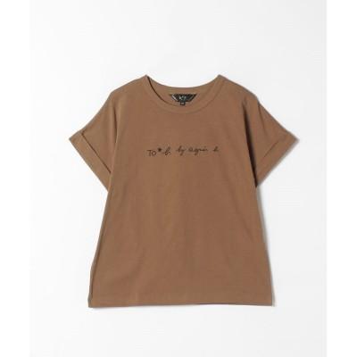 【アニエスベー】 W984 TS ロゴTシャツ レディース キャメル 38(M) agnes b.