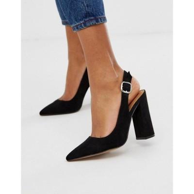 エイソス レディース ヒール シューズ ASOS DESIGN Penley slingback high heels in black Black
