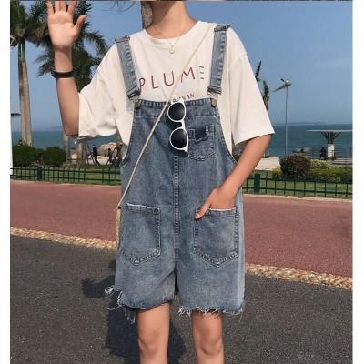 デニムサロペットオーバーオール デニムパンツ春新作 レディース ショートパンツ ズボン ゆったり 体型カバー 高品質