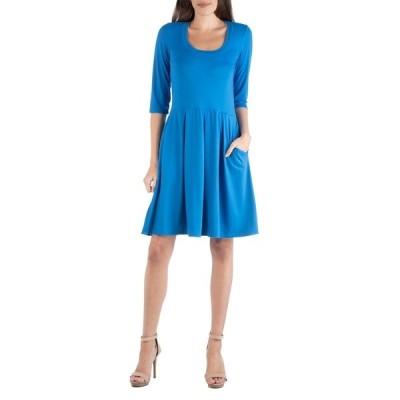 24セブンコンフォート ワンピース トップス レディース Women's 3/4 Sleeve Fit and Flare Mini Dress Blue