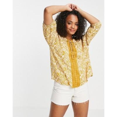 エンクリーム レディース シャツ トップス En Creme smock blouse in yellow paisley with neck detail set