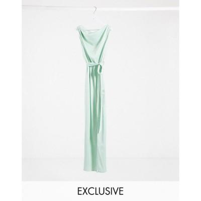 フラウンスロンドン マキシドレス レディース Flounce London exclusive satin drape shoulder maxi dress in mint エイソス ASOS