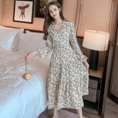 ドレス ロングドレス ワンピース  ロングワンピース シフォンワンピース 大きいサイズ  Vネック 花柄 シンプル  ロング丈 レディース