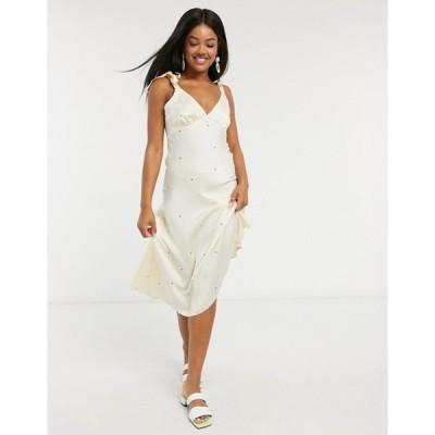 ミスセルフフリッジ レディース ワンピース トップス Miss Selfridge satin slip midi dress in ivory spot
