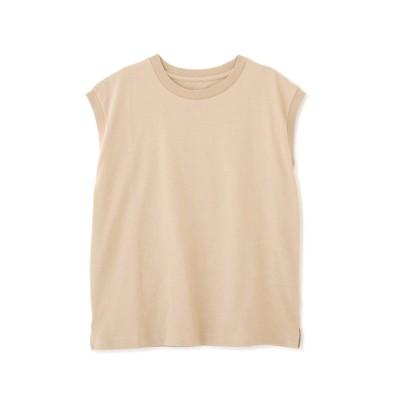 USAコットンフレンチクルーネックTシャツ ベージュ