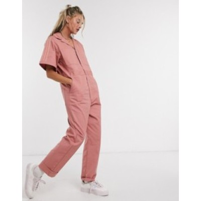 アディダス レディース ワンピース トップス adidas Originals New Neutrals logo boilersuit in pink Ash pink