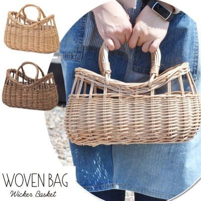ウィッカーバスケット オーバル WOVEN BAG かご