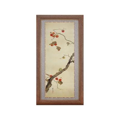 酒井抱一 十二か月花鳥図 十月 柿に目白図 額 アート 美術品 インテリア 作品 日本画 複製画 - アートの友社