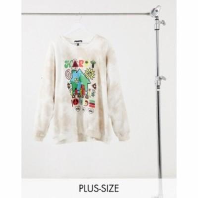 ニューガールオーダー New Girl Order Curve レディース スウェット・トレーナー トップス Oversized Sweatshirt In Tie-Dye With Happy