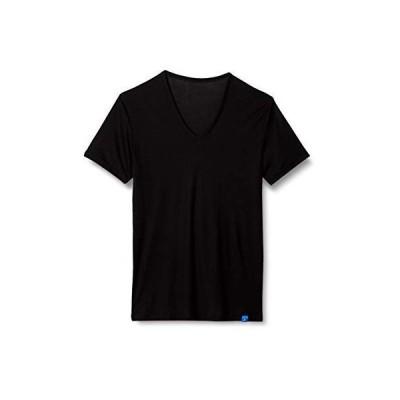 グンゼ Tシャツ クールマジック フライス Vネック メンズ ブラック 日本 M (日本サイズM相当)