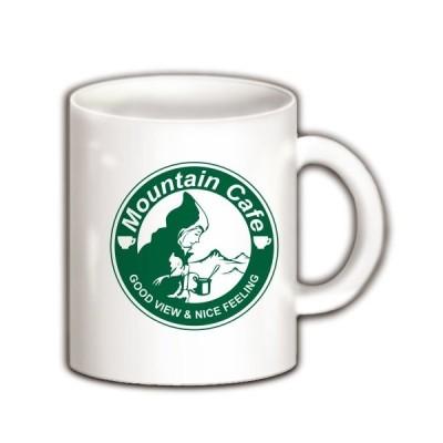 マウンテンカフェ(丸ロゴ緑) マグカップ(ホワイト)