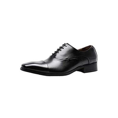 [フォクスセンス] ビジネスシューズ 革靴 軽量・撥水 高級紳士靴 メンズ 本革 ストレートチップ 内羽根 ブラック 25.5cm P201-01