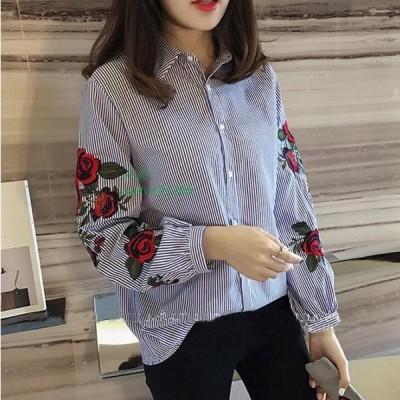 2色 レディースシャツ ブラウス 春夏秋 長袖 トップス 刺繍 ワイシャツ 綺麗 着痩せ 白シャツ