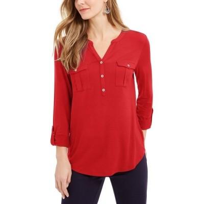 スタイルアンドコー カットソー トップス レディース Plus Size Roll-Tab Buttoned-Neck Top, Created for Macy's Loving Red