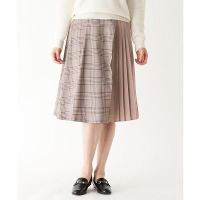 スカート チェック×プリーツ切り替えスカート