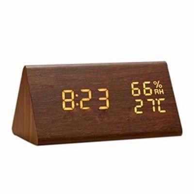 【新品/送料無料】目覚まし時計 置き時計 デジタル 大きなLED数字表示 温度湿度計 カレンダー アラーム 振動/音感センサー 輝度調節 設定