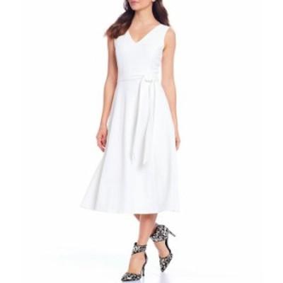 カルバンクライン レディース ワンピース トップス Scuba Crepe V-Neck Sleeveless Tie Waist Midi Dress Cream