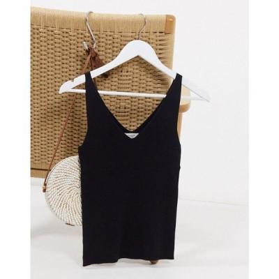 ジェイディーワイ JDY レディース タンクトップ トップス knitted vest in black ブラック
